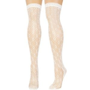 K. Bell Accessories - Daisy Chain Thigh High Fishnets in White